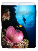 Diver And Magnificent Anemone, Fiji Duvet Cover