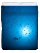 Diver And School Of Fish In Blue Water Duvet Cover
