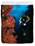 Diver And Sea Fans, Fiji Duvet Cover