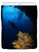 Diver And Soft Coral, Fiji Duvet Cover
