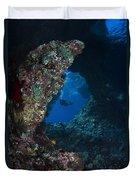Diver At Boo Windows In Raja Ampat Duvet Cover