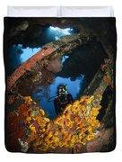 Diver Explores The Liberty Wreck, Bali Duvet Cover