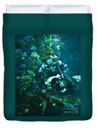 Diver Feeding Fish Duvet Cover