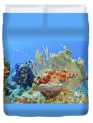 Diver Looks At Scorpionfish Duvet Cover