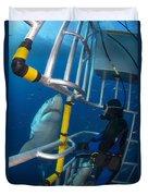 Diver Observes A Male Great White Shark Duvet Cover