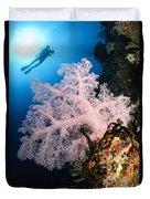 Diver Over Soft Coral Seascape Duvet Cover