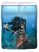 Diver Spears An Invasive Indo-pacific Duvet Cover