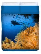 Diver Swimms Above Soft Coral, Fiji Duvet Cover