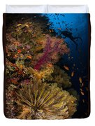 Diver Swims By Soft Corals And Crinoid Duvet Cover