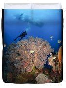 Diver Swims Over Sea Fans, Indonesia Duvet Cover