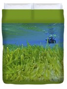Diver With Fluorescent Green Algae Duvet Cover