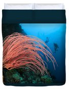 Divers And Whip Coral Duvet Cover