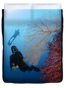 Divers Swimming By Sea Fans, Indonesia Duvet Cover