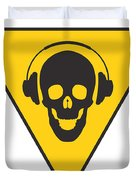 Dj Skull On Hazard Triangle Duvet Cover by Pixel Chimp