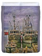 Docked Fishing Boats Hdr Duvet Cover