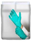 Doctor Putting On Gloves Duvet Cover