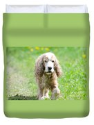 Dog On The Green Field Duvet Cover