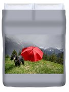 Dog On The Top Of A Mountain Duvet Cover
