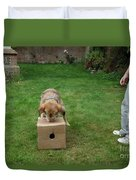 Dog Playing Duvet Cover by Mark Taylor