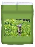 Dog Running In The Green Field Duvet Cover