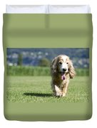 Dog Walking On The Green Grass Duvet Cover