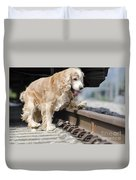 Dog Walking Over Railroad Tracks Duvet Cover