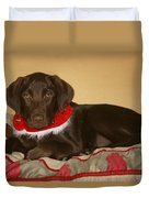 Dog With Christmas Collar Duvet Cover