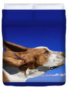 Dog With Ears In The Wind Duvet Cover