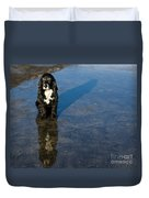 Dog With Reflections And Shadow Duvet Cover