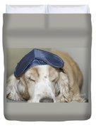 Dog With Sleep Mask Duvet Cover