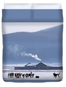 Dogs Play Outside In Rinchenlhumbe Duvet Cover