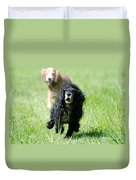 Dogs Running On The Green Field Duvet Cover
