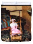 Doll In Carriage Duvet Cover