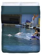 Dolphin And Trainer At The Underwater World In Sentosa In Singap Duvet Cover