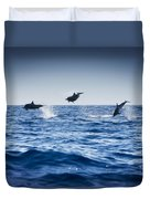 Dolphins Playing In The Ocean Duvet Cover