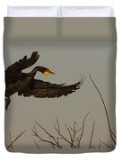 Double Crested Cormorant Coming Duvet Cover