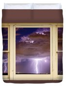 Double Lightning Strike Picture Window Duvet Cover