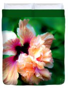 Double Peach Hibiscus Five Duvet Cover