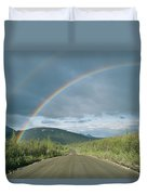Double Rainbow Over The Denali Highway Duvet Cover