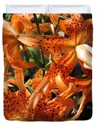 Double Tiger Lily Named Flora Pleno Duvet Cover