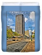 Downtown Buffalo Metro Rail  Heading To The Erie Canal Harbor Duvet Cover