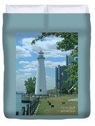 Downtown Detroit Lighthouse Duvet Cover
