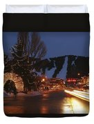 Downtown Jackson Hole At Night Duvet Cover