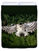 Downy Woodpecker In Flight Duvet Cover