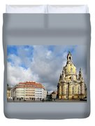 Dresden Church Of Our Lady And New Market Duvet Cover