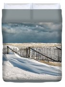 Drifting Snow Along The Beach Fences At Nauset Beach In Orleans  Duvet Cover