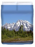 Driftwood And The Grand Tetons Duvet Cover