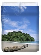 Driftwood On A Tropical Beach Bordered Duvet Cover