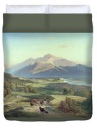 Drover On Horseback With His Cattle In A Mountainous Landscape With Schloss Anif Salzburg And Beyond Duvet Cover