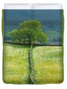 Dry Stone Wall And Lone Tree Duvet Cover